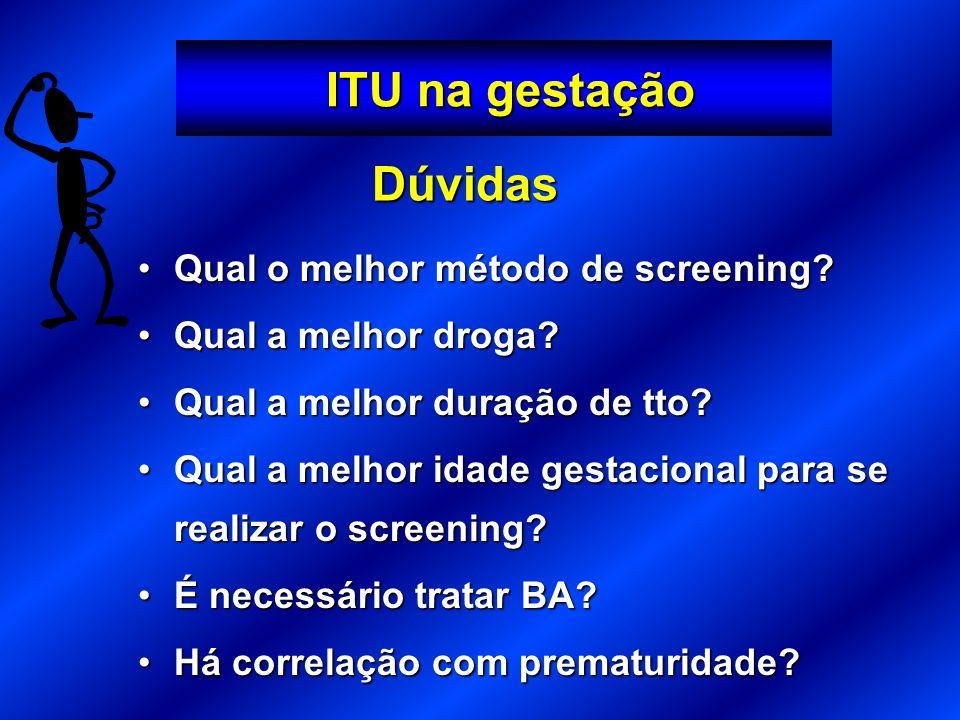 ITU na gestação ITU na gestação Qual o melhor método de screening?Qual o melhor método de screening? Qual a melhor droga?Qual a melhor droga? Qual a m