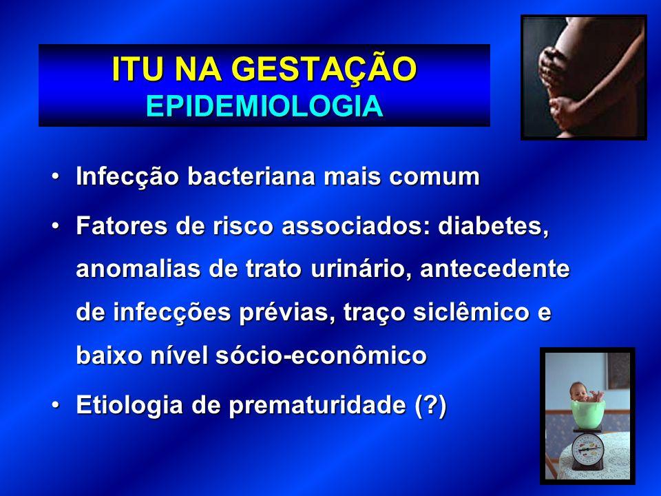ITU NA GESTAÇÃO EPIDEMIOLOGIA Infecção bacteriana mais comumInfecção bacteriana mais comum Fatores de risco associados: diabetes, anomalias de trato u
