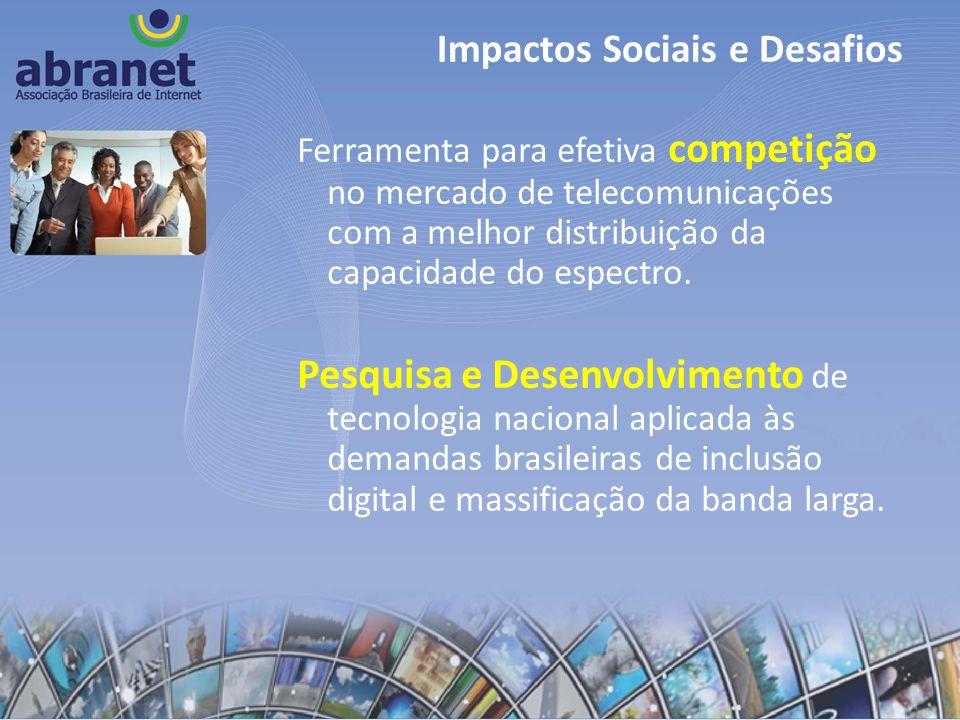 Ferramenta para efetiva competição no mercado de telecomunicações com a melhor distribuição da capacidade do espectro. Pesquisa e Desenvolvimento de t