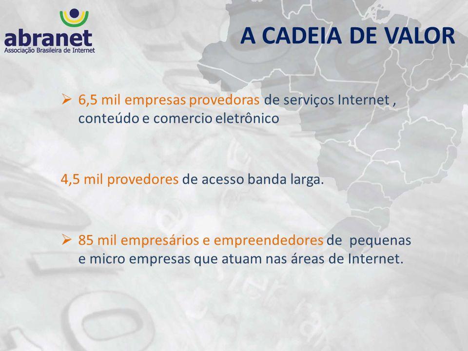 A CADEIA DE VALOR 6,5 mil empresas provedoras de serviços Internet, conteúdo e comercio eletrônico 4,5 mil provedores de acesso banda larga. 85 mil em
