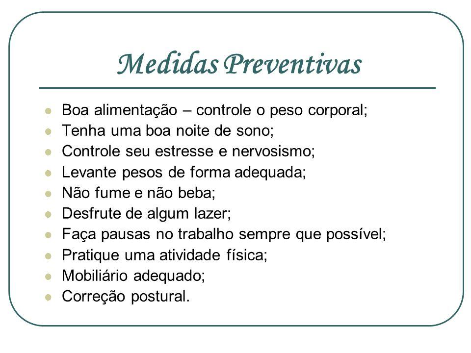 Medidas Preventivas Boa alimentação – controle o peso corporal; Tenha uma boa noite de sono; Controle seu estresse e nervosismo; Levante pesos de form