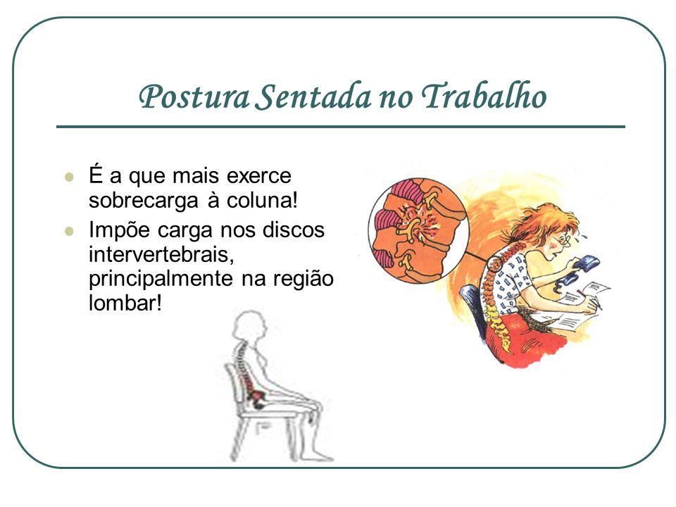 Postura Sentada no Trabalho É a que mais exerce sobrecarga à coluna! Impõe carga nos discos intervertebrais, principalmente na região lombar!