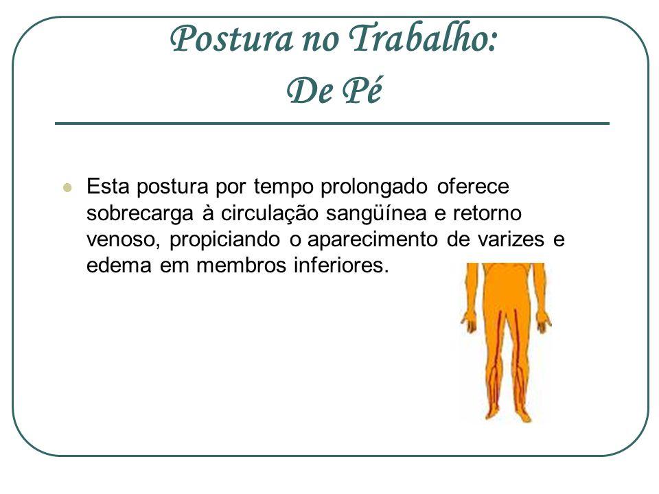 Postura no Trabalho: De Pé Esta postura por tempo prolongado oferece sobrecarga à circulação sangüínea e retorno venoso, propiciando o aparecimento de
