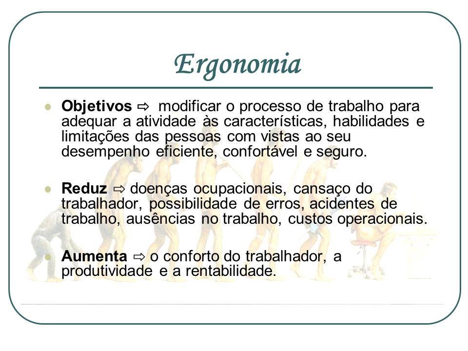 Ergonomia Objetivos modificar o processo de trabalho para adequar a atividade às características, habilidades e limitações das pessoas com vistas ao s