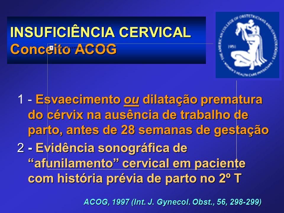 INSUFICIÊNCIA CERVICAL Conceito ACOG Esvaecimento ou dilatação prematura do cérvix na ausência de trabalho de parto, antes de 28 semanas de gestação 1