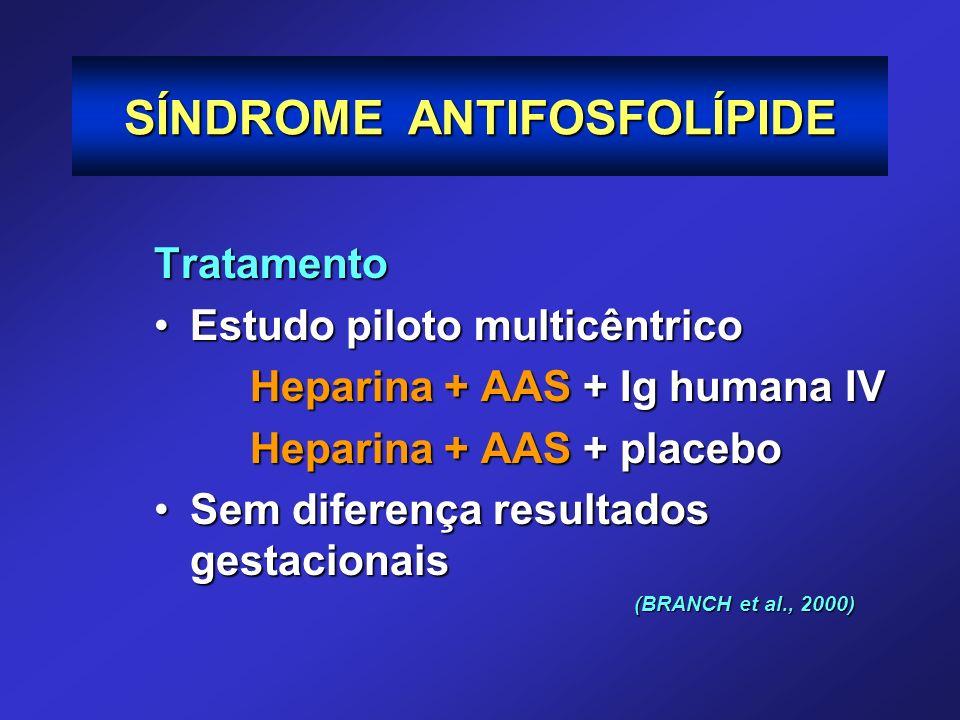 Tratamento Estudo piloto multicêntricoEstudo piloto multicêntrico Heparina + AAS + Ig humana IV Heparina + AAS + placebo Sem diferença resultados gest