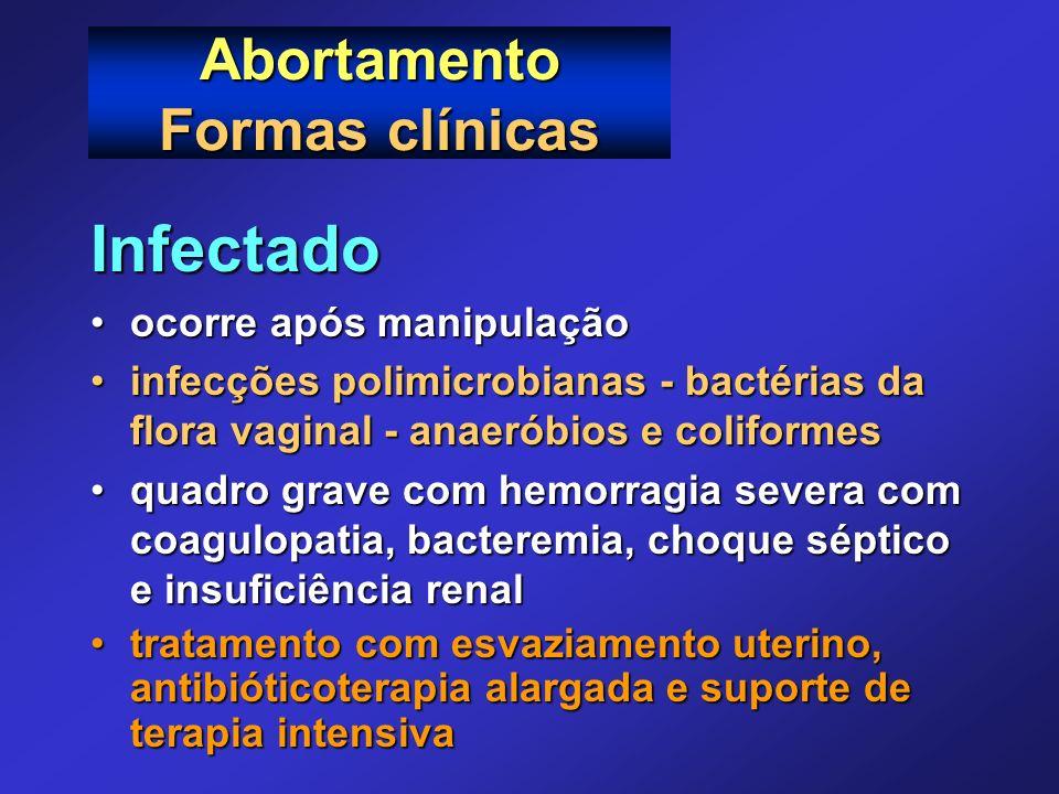 Abortamento Formas clínicas Infectado ocorre após manipulaçãoocorre após manipulação infecções polimicrobianas - bactérias da flora vaginal - anaeróbi