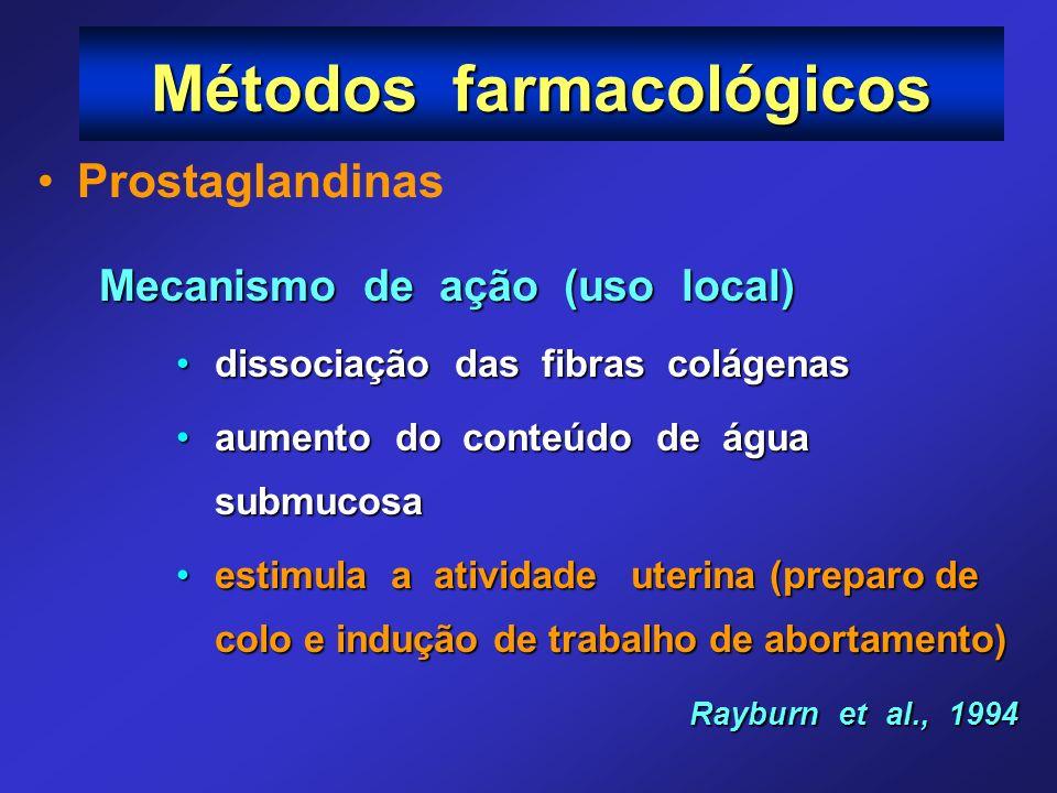 Prostaglandinas Mecanismo de ação (uso local) dissociação das fibras colágenasdissociação das fibras colágenas aumento do conteúdo de água submucosaau