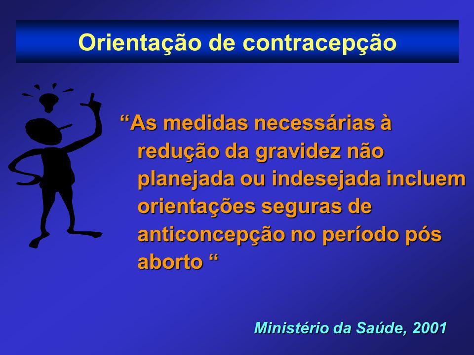 Orientação de contracepção As medidas necessárias à redução da gravidez não planejada ou indesejada incluem orientações seguras de anticoncepção no pe