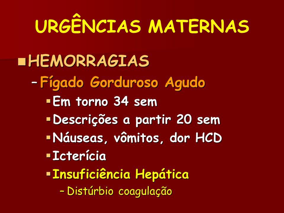 URGÊNCIAS MATERNAS HEMORRAGIAS HEMORRAGIAS –Fígado Gorduroso Agudo Em torno 34 sem Em torno 34 sem Descrições a partir 20 sem Descrições a partir 20 sem Náuseas, vômitos, dor HCD Náuseas, vômitos, dor HCD Icterícia Icterícia Insuficiência Hepática Insuficiência Hepática –Distúrbio coagulação
