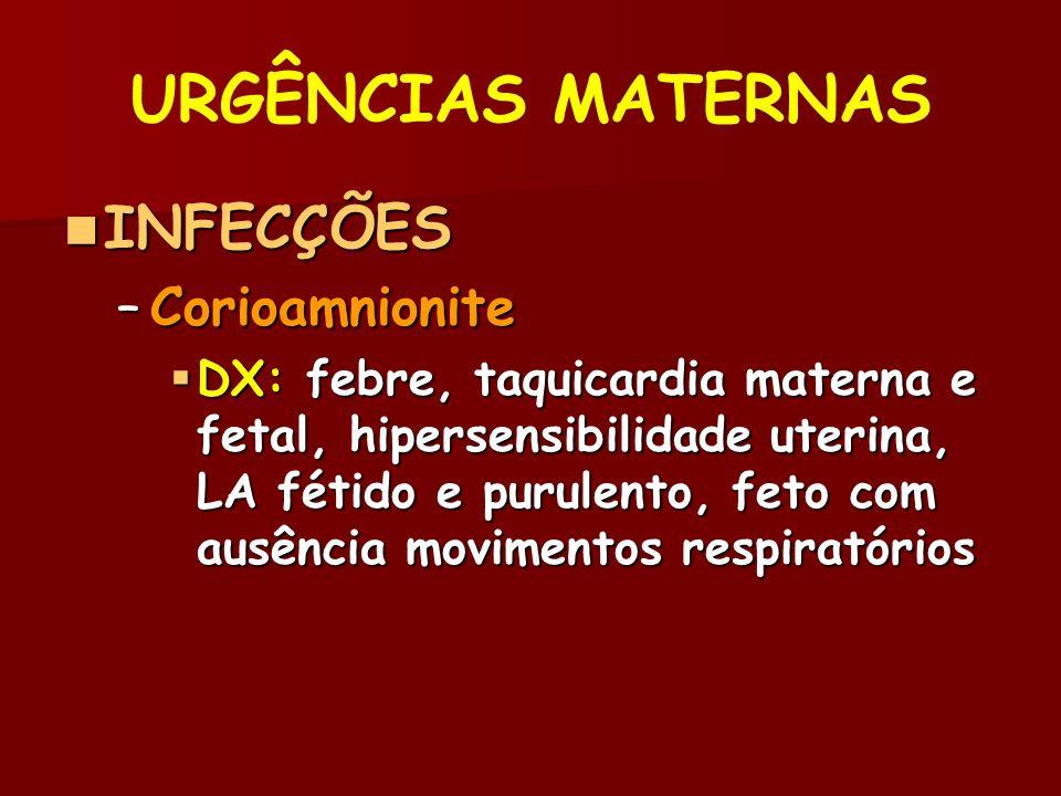 INFECÇÕES INFECÇÕES –Corioamnionite DX: febre, taquicardia materna e fetal, hipersensibilidade uterina, LA fétido e purulento, feto com ausência movimentos respiratórios DX: febre, taquicardia materna e fetal, hipersensibilidade uterina, LA fétido e purulento, feto com ausência movimentos respiratórios