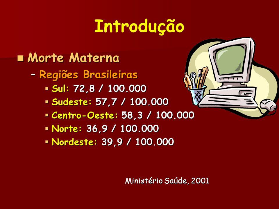 Introdução Causas Morte Materna Brasil Causas Morte Materna Brasil –Eclâmpsia –Hemorragias –Infecção puerperal –Aborto