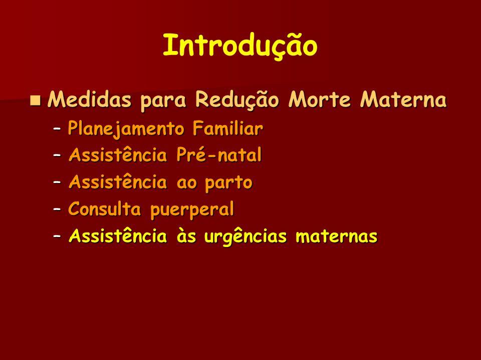 Introdução Medidas para Redução Morte Materna Medidas para Redução Morte Materna –Planejamento Familiar –Assistência Pré-natal –Assistência ao parto –Consulta puerperal –Assistência às urgências maternas
