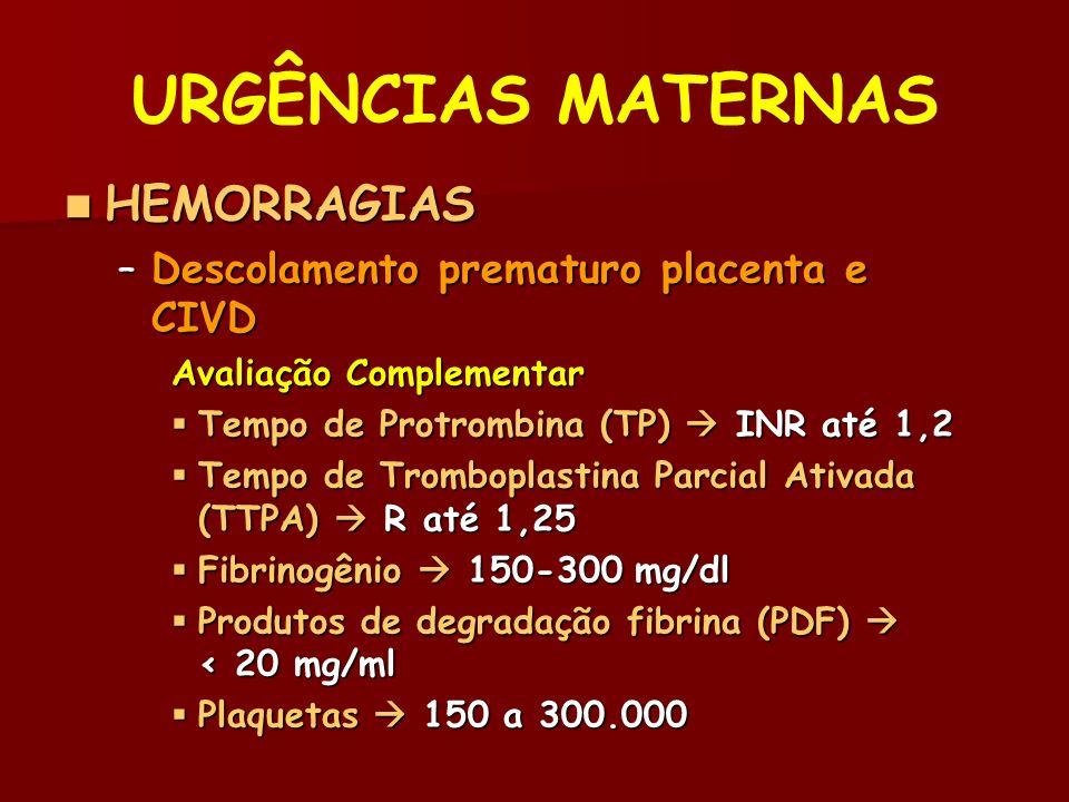 URGÊNCIAS MATERNAS HEMORRAGIAS HEMORRAGIAS –Descolamento prematuro placenta e CIVD Avaliação Complementar Tempo de Protrombina (TP) INR até 1,2 Tempo de Protrombina (TP) INR até 1,2 Tempo de Tromboplastina Parcial Ativada (TTPA) R até 1,25 Tempo de Tromboplastina Parcial Ativada (TTPA) R até 1,25 Fibrinogênio 150-300 mg/dl Fibrinogênio 150-300 mg/dl Produtos de degradação fibrina (PDF) < 20 mg/ml Produtos de degradação fibrina (PDF) < 20 mg/ml Plaquetas 150 a 300.000 Plaquetas 150 a 300.000