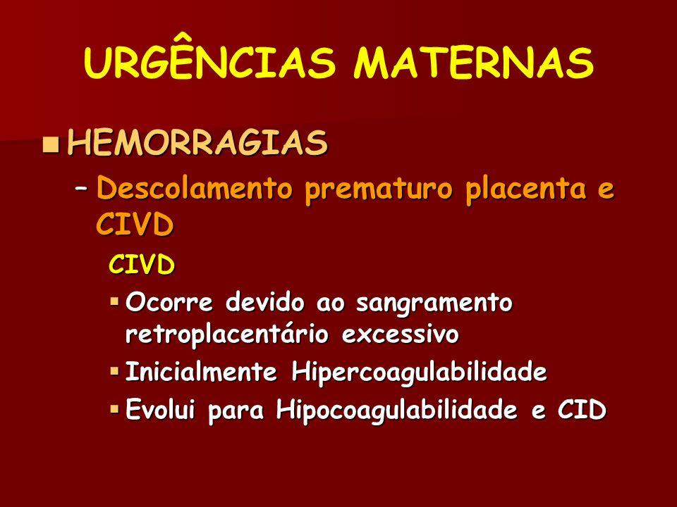 URGÊNCIAS MATERNAS HEMORRAGIAS HEMORRAGIAS –Descolamento prematuro placenta e CIVD CIVD Ocorre devido ao sangramento retroplacentário excessivo Ocorre devido ao sangramento retroplacentário excessivo Inicialmente Hipercoagulabilidade Inicialmente Hipercoagulabilidade Evolui para Hipocoagulabilidade e CID Evolui para Hipocoagulabilidade e CID