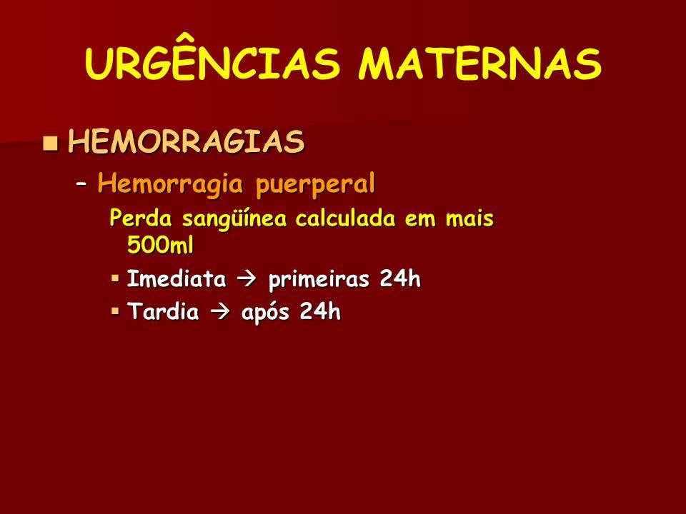 URGÊNCIAS MATERNAS HEMORRAGIAS HEMORRAGIAS –Hemorragia puerperal Perda sangüínea calculada em mais 500ml Imediata primeiras 24h Imediata primeiras 24h Tardia após 24h Tardia após 24h