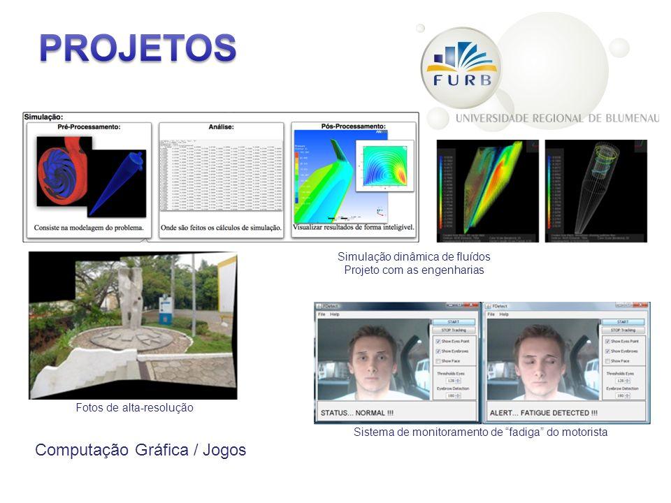 Computação Gráfica / Jogos Simulação dinâmica de fluídos Projeto com as engenharias Fotos de alta-resolução Sistema de monitoramento de fadiga do motorista