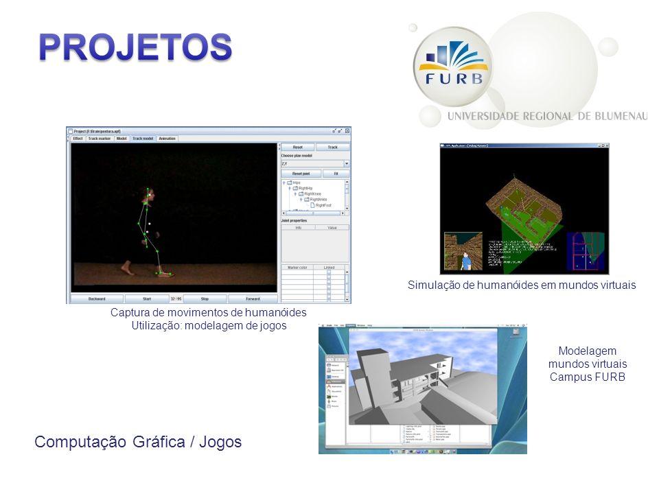 Computação Gráfica / Jogos Captura de movimentos de humanóides Utilização: modelagem de jogos Simulação de humanóides em mundos virtuais Modelagem mundos virtuais Campus FURB
