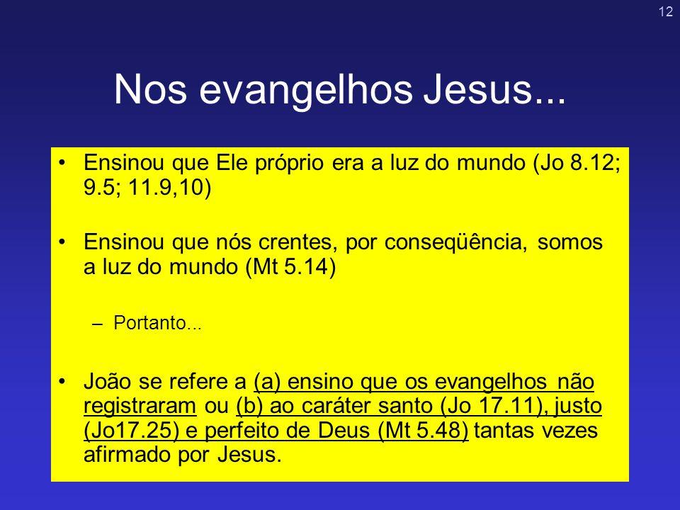 12 Nos evangelhos Jesus... Ensinou que Ele próprio era a luz do mundo (Jo 8.12; 9.5; 11.9,10) Ensinou que nós crentes, por conseqüência, somos a luz d