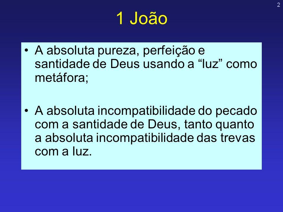 2 1 João A absoluta pureza, perfeição e santidade de Deus usando a luz como metáfora; A absoluta incompatibilidade do pecado com a santidade de Deus,