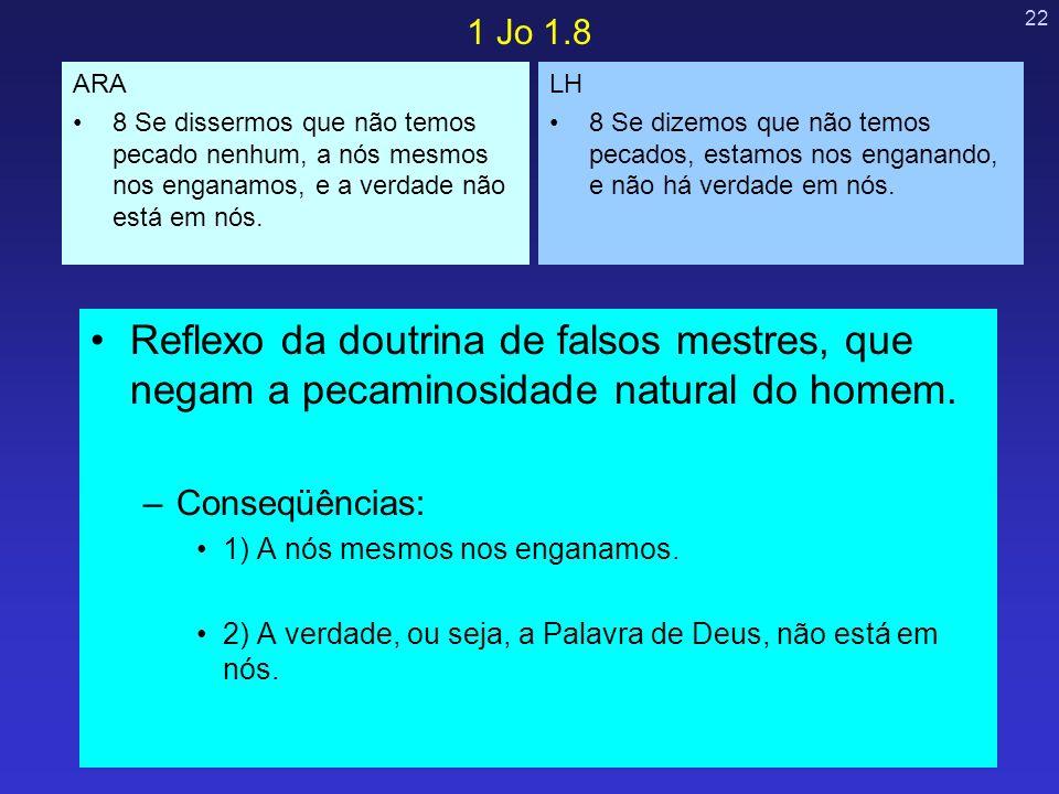 22 Reflexo da doutrina de falsos mestres, que negam a pecaminosidade natural do homem. –Conseqüências: 1) A nós mesmos nos enganamos. 2) A verdade, ou