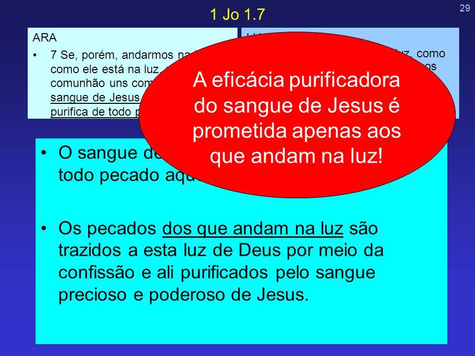 29 O sangue de Jesus é eficaz para purificar de todo pecado aqueles que andam na luz. Os pecados dos que andam na luz são trazidos a esta luz de Deus