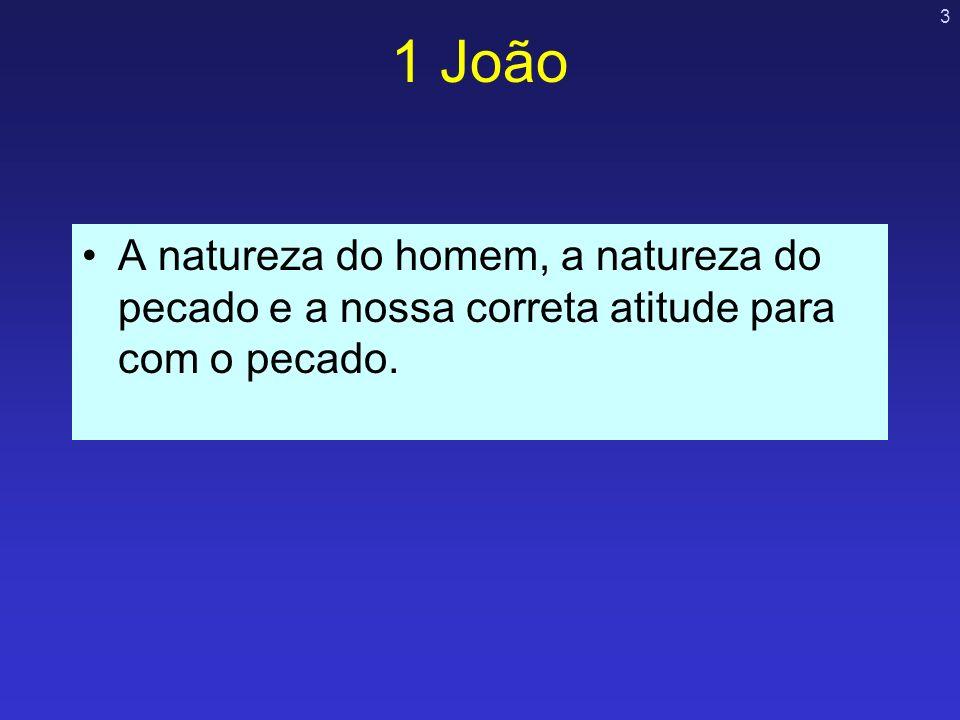 3 1 João A natureza do homem, a natureza do pecado e a nossa correta atitude para com o pecado.