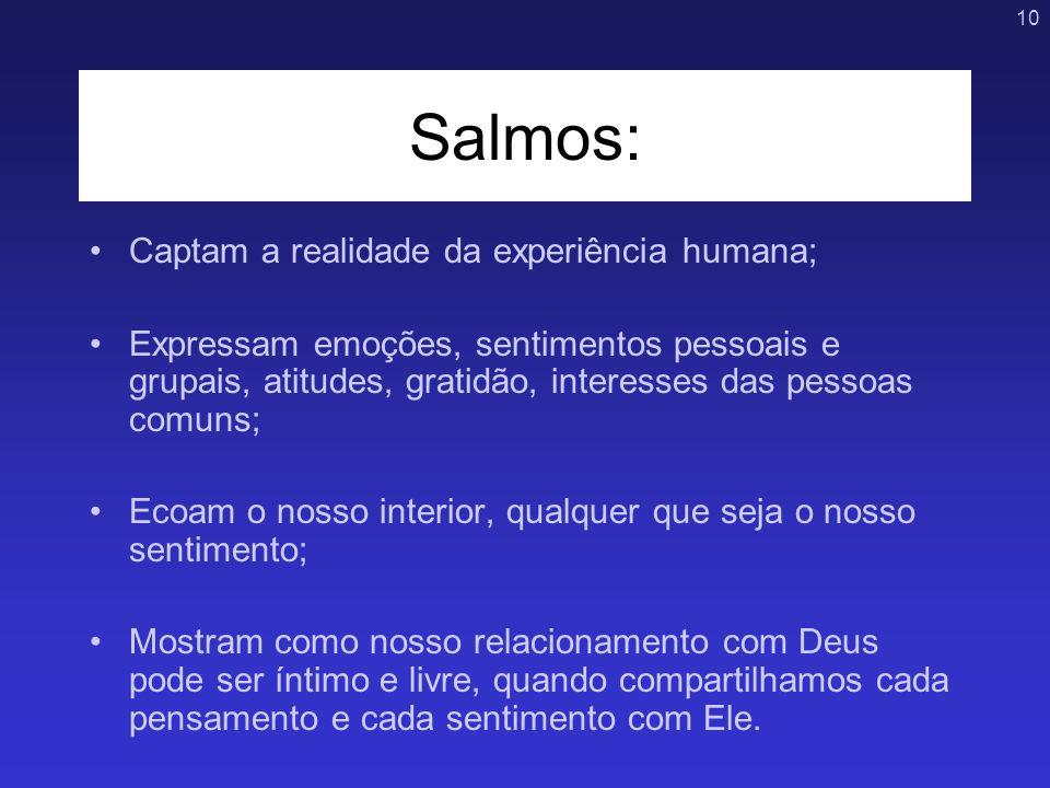 10 Salmos: Captam a realidade da experiência humana; Expressam emoções, sentimentos pessoais e grupais, atitudes, gratidão, interesses das pessoas com