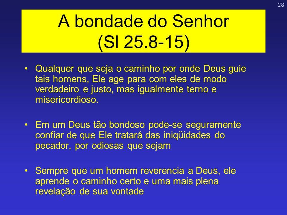 28 A bondade do Senhor (Sl 25.8-15) Qualquer que seja o caminho por onde Deus guie tais homens, Ele age para com eles de modo verdadeiro e justo, mas