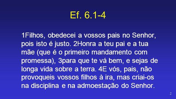 Ef 6.1 Filhos, obedecei a vossos pais...Hypakouõ = obediência literal à autoridade.