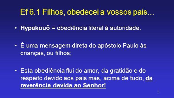 Ef 6.1 Filhos, obedecei a vossos pais no Senhor, pois isto é justo Paulo diz que essa obediência deve ser no Senhor, E que isto (= obedecer) é justo.