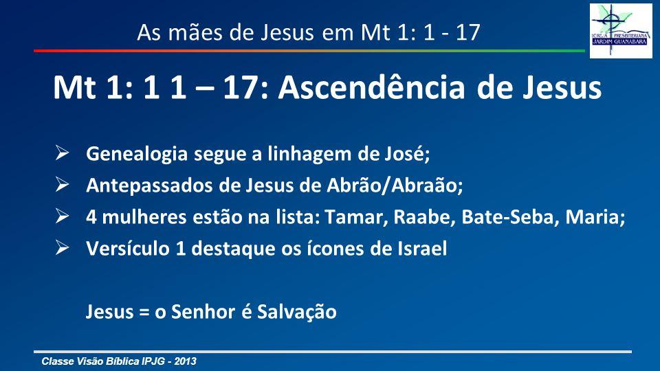 Classe Visão Bíblica IPJG - 2013 As mães de Jesus em Mt 1: 1 - 17 Mt 1: 1 1 – 17: Ascendência de Jesus 4 mulheres estão na lista: Tamar – Gn 38 Raabe – Js {2: 1 - 24, 6: 17, 22 – 25}; Hb 11: 31 Bate-Seba – 2 Sm 11 e 12; 1 Re 1 e 2 Maria – Mt 1 e 2; Lc 1 e 2; Jo {2: 1 – 5; 18: 25 – 27}; At 1:12-14