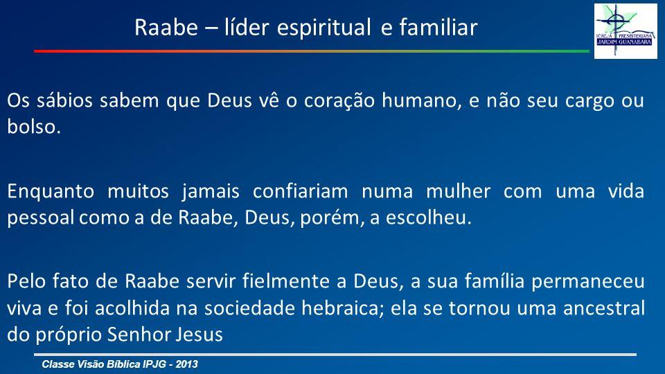 Classe Visão Bíblica IPJG - 2013 Bate-Seba – bonita e escolheu o lado certo 2 Sm 11 – 12: 24; 1 Re 1 e 2 As oportunidades não vazaram pelos seus dedos; Criou o filho Salomão alinhada com o profeta Natã; Uma vez esposa do Rei, parece ter escolhido o lado certo da vida; Conseguiu do Rei a promessa de que o filho seria o sucessor; Mostrou-se facilmente ser influenciável no caso de Adonias