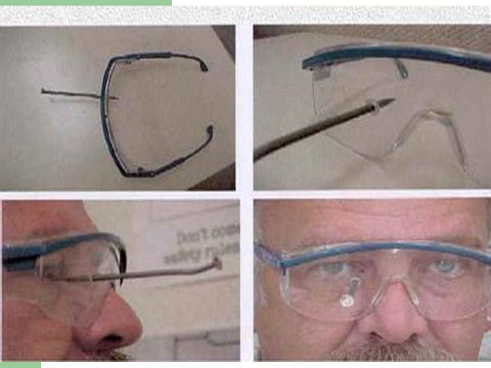 Proteção dos olhos e face Óculos: Proteção contra partículas, luz intensa, radiação, respingos de produtos químicos; Proteção facial: Proteção do rost