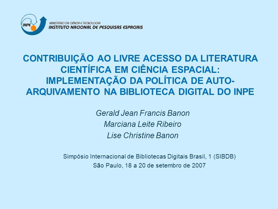 Gerald Jean Francis Banon Marciana Leite Ribeiro Lise Christine Banon Simpósio Internacional de Bibliotecas Digitais Brasil, 1 (SIBDB) São Paulo, 18 a