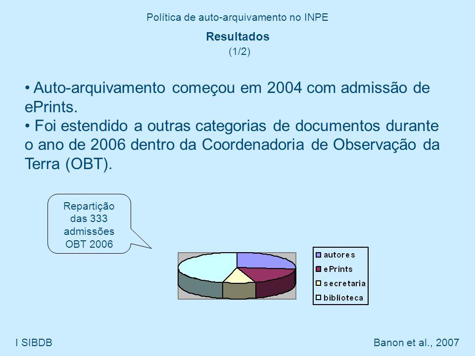 Política de auto-arquivamento no INPE I SIBDB Banon et al., 2007 Resultados (1/2) Auto-arquivamento começou em 2004 com admissão de ePrints. Foi esten