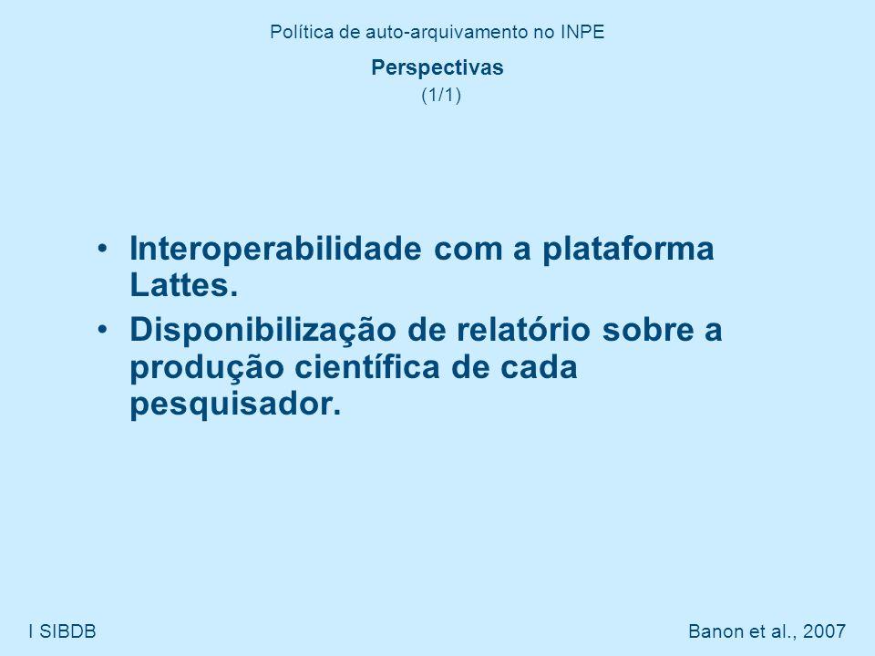 Política de auto-arquivamento no INPE I SIBDB Banon et al., 2007 Perspectivas (1/1) Interoperabilidade com a plataforma Lattes. Disponibilização de re