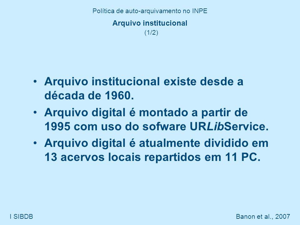 Política de auto-arquivamento no INPE I SIBDB Banon et al., 2007 Arquivo institucional (1/2) Arquivo institucional existe desde a década de 1960. Arqu