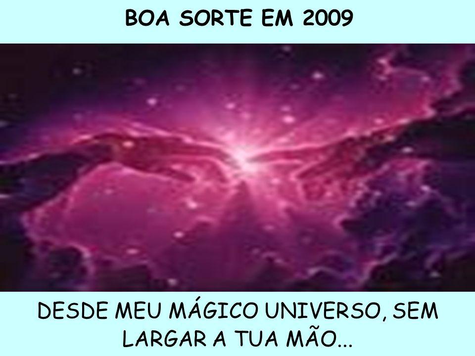 BOA SORTE EM 2009 DESDE MEU MÁGICO UNIVERSO, SEM LARGAR A TUA MÃO...