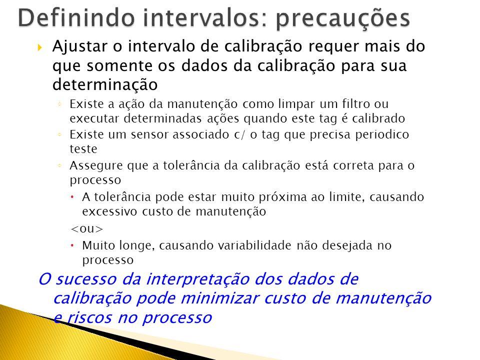 Se um dispositivo é calibrado e permanece dentro dos 70% da especificação do fabricante para (3) intervalos sucessivos: Ajuste para o próximo interval
