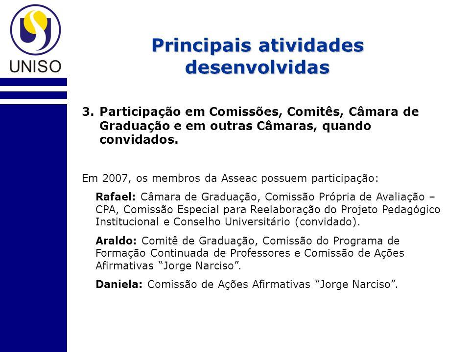 Principais atividades desenvolvidas 3.Participação em Comissões, Comitês, Câmara de Graduação e em outras Câmaras, quando convidados.