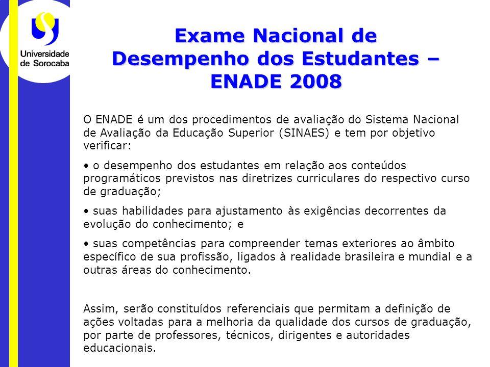 Exame Nacional de Desempenho dos Estudantes – ENADE 2008 O ENADE é um dos procedimentos de avaliação do Sistema Nacional de Avaliação da Educação Supe