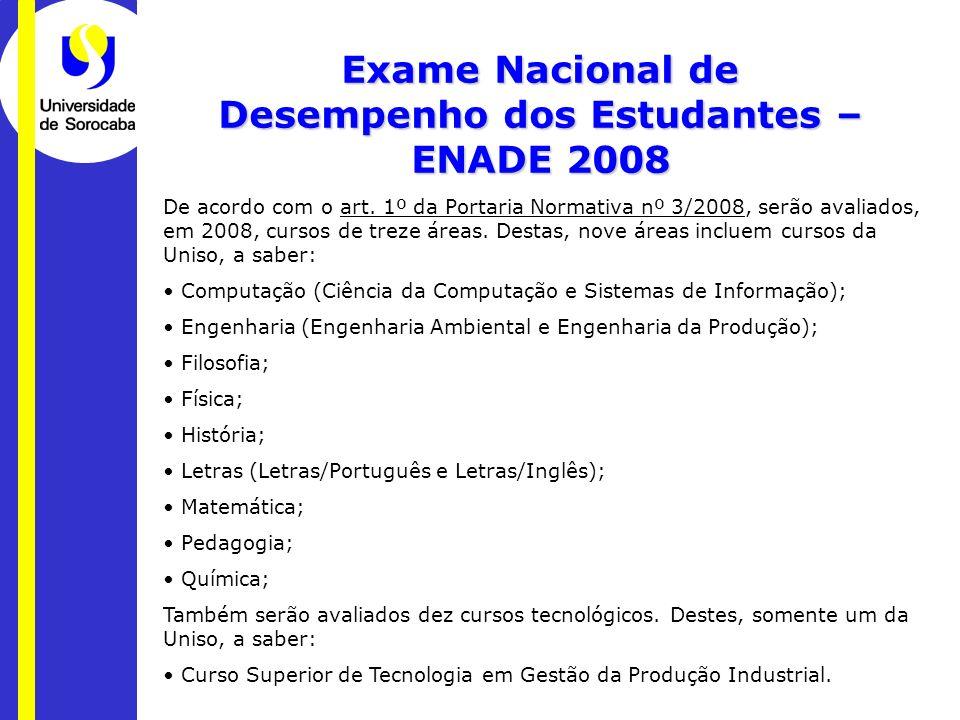 Exame Nacional de Desempenho dos Estudantes – ENADE 2008 De acordo com o art. 1º da Portaria Normativa nº 3/2008, serão avaliados, em 2008, cursos de