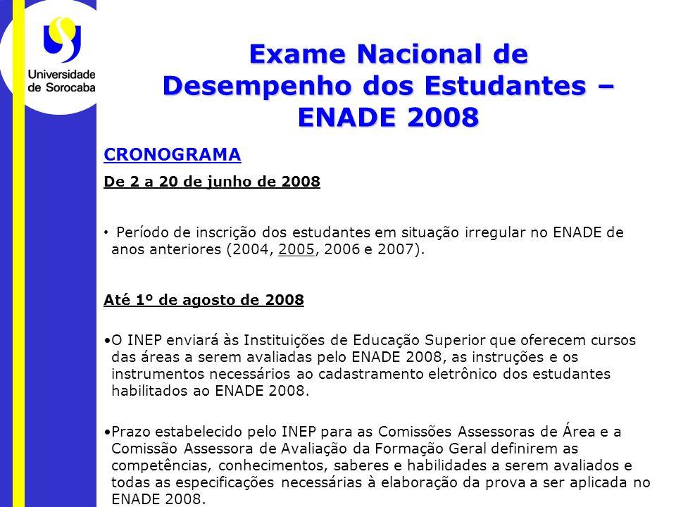CRONOGRAMA De 2 a 20 de junho de 2008 Período de inscrição dos estudantes em situação irregular no ENADE de anos anteriores (2004, 2005, 2006 e 2007).