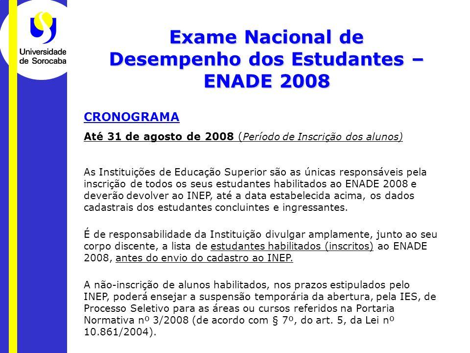 CRONOGRAMA Até 31 de agosto de 2008 ( Período de Inscrição dos alunos) As Instituições de Educação Superior são as únicas responsáveis pela inscrição