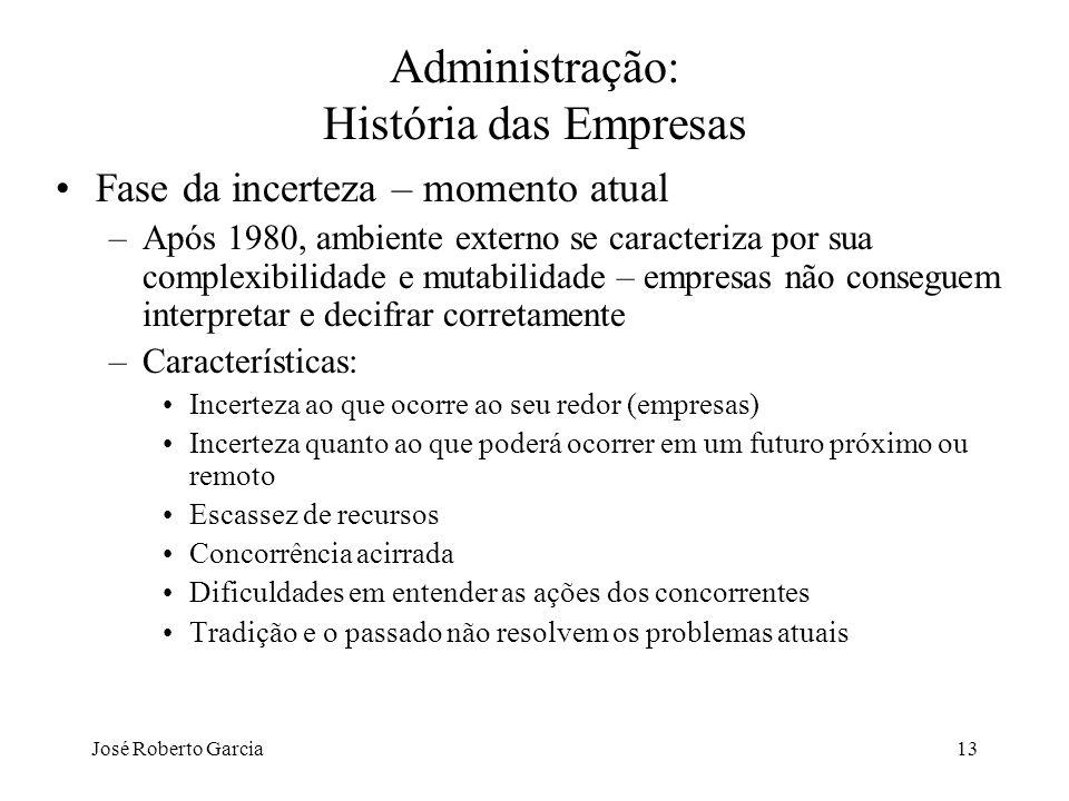 José Roberto Garcia13 Administração: História das Empresas Fase da incerteza – momento atual –Após 1980, ambiente externo se caracteriza por sua compl