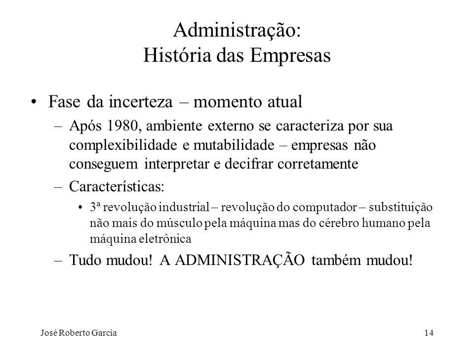 José Roberto Garcia14 Administração: História das Empresas Fase da incerteza – momento atual –Após 1980, ambiente externo se caracteriza por sua compl
