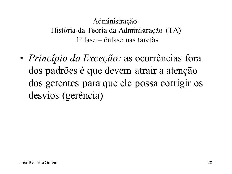 José Roberto Garcia20 Administração: História da Teoria da Administração (TA) 1ª fase – ênfase nas tarefas Princípio da Exceção: as ocorrências fora d