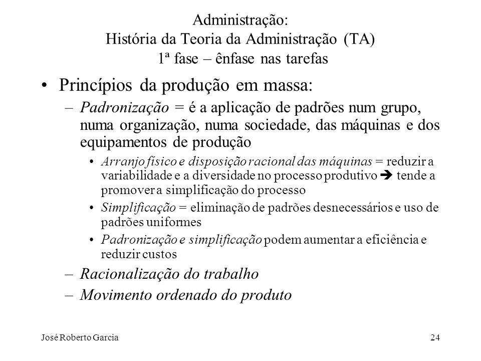 José Roberto Garcia24 Administração: História da Teoria da Administração (TA) 1ª fase – ênfase nas tarefas Princípios da produção em massa: –Padroniza