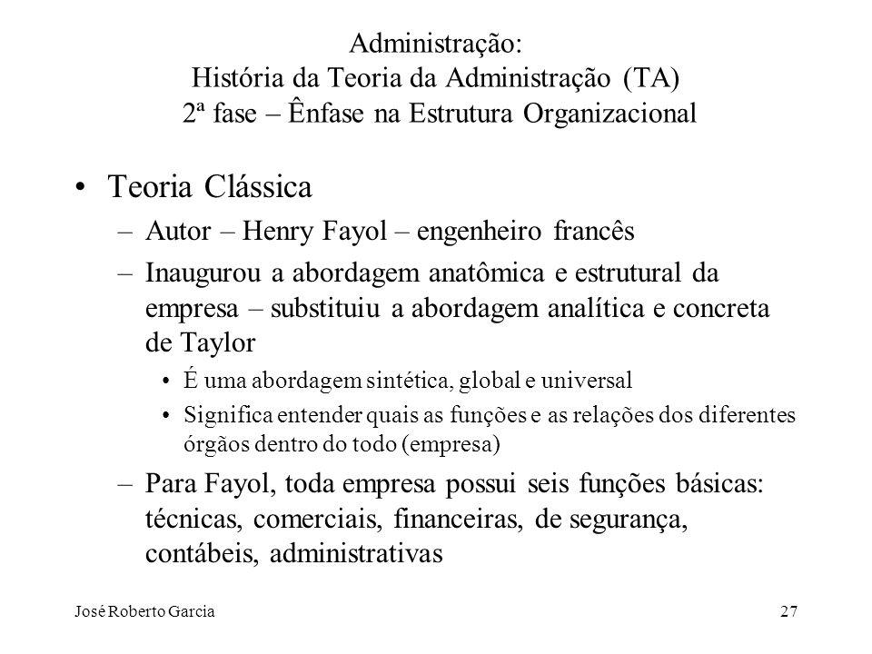 José Roberto Garcia27 Administração: História da Teoria da Administração (TA) 2ª fase – Ênfase na Estrutura Organizacional Teoria Clássica –Autor – He